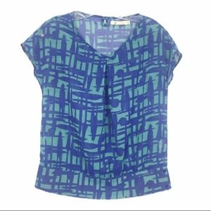 Tulle Blue Printed abstract Short Sleeve Blouse